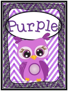 Owl Color Posters with Chevron Background