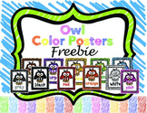 Owl Color Posters FREEBIE
