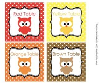 Owl Color Table Labels - 8 Different Colors