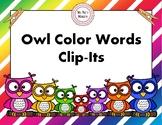 Owl Color Words Clip-Its