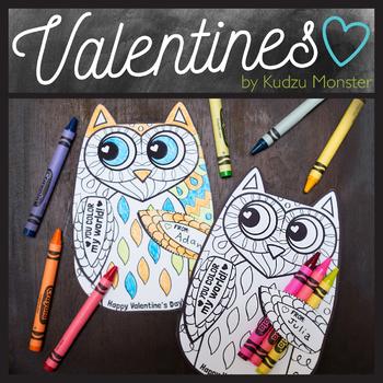 Owl Coloring Valentine Crayon Hugger