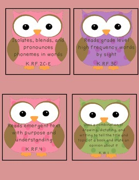Owl Common Core State Standards I Can Statements Kindergarten Language Arts B2S