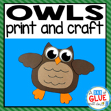 Owl Craft Paper Activity and Creative Writing