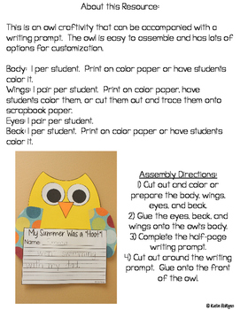 Owl Craftivity with Writing Prompts