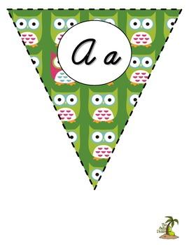Owl Cursive Alphabet Pennant Banner