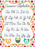 Owl Cursive Alphabet Poster