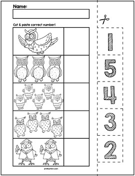 Owl Cut & Match Worksheets | Numbers 1- 5