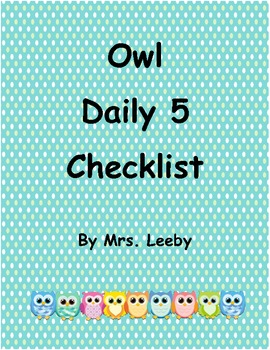 Owl Daily 5 Checklist