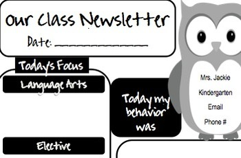 Owl Daily Newsletter or Homework Sheet