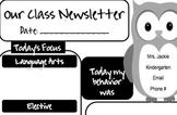Owl Daily Newsletter or Homework Sheet