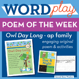 Owl Day Long - ap Word Family Poem of the Week - Short Vowel A Fluency Poem