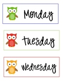 Owl Day of The Week Labels Monday through Friday Only