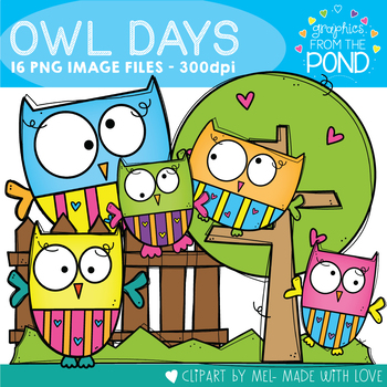 Owl Days Clipart Set