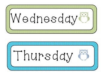 Owl Days of the Week Signs