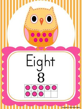 Owl Decor: Word Wall, Number Sense Posters, Word Labels, Table Numbers and More