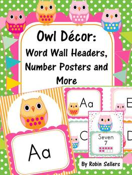 Owl Decor: Word Wall, Number Sense Posters, Word Labels, T