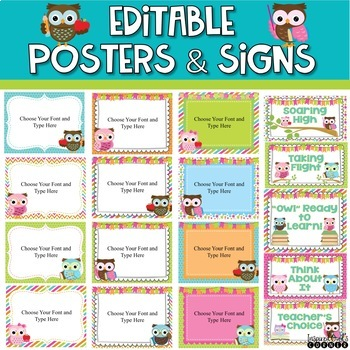 Classroom Decor Bundle with Owls, Chevron, Stripes and Polka Dots