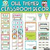 Owl Themed Classroom Decor Bundle - Chevron, Stripes and Polka Dots