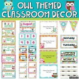 Owl Themed Classroom Decor Bundle - Chevron, Stripes and P