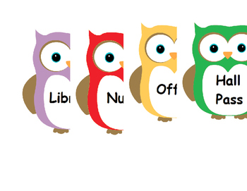 Owl Design customizable Hall Pass - Boys Girls Nurse Office Library Other