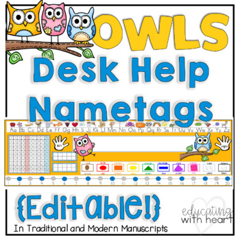 Editable Owl Desk Help Nametags