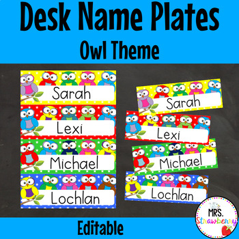 Owl Desk Name Plates  Labels **Editable**
