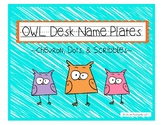 Owl Desk Name Plates (Chevron, Dots, and Scribbles) *Editable*