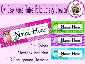 Owl Desk Name Plates: Polka Dots and Chevron