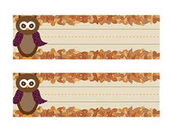 Owl Desk Nametags with Leaves - Fall Colors