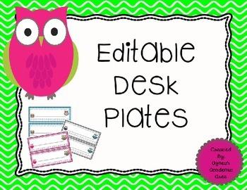 Owl Desk Plates