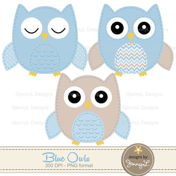 SET: Owl Digital Papers and Clipart: Blue - Boy Stitched Owl