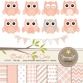 SET: Owl Digital Papers and Clipart: Coral Stitched Owl
