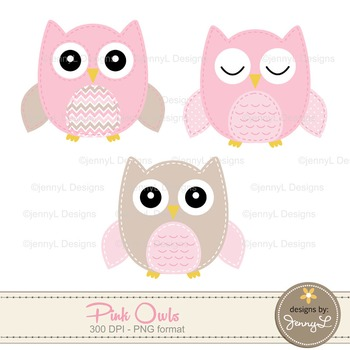 SET: Owl Digital Papers and Clipart: Pink- Girl Stitched Owl