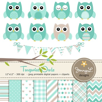 SET: Owl Digital Papers and Clipart: Turquoise Stitched Owl