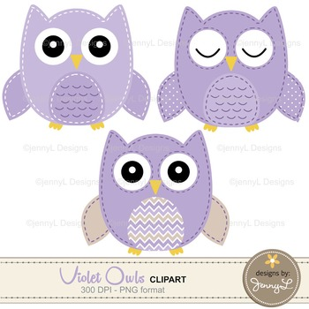 Owl Digital Papers and Clipart SET: Violet Stitched Owl