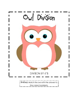 Owl Division File Folder Game (6's)