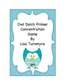 Owl Dolch Primer Concentration Game