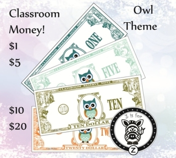 Owl Dollars - Classroom money, reward or economy {ZisforZebra}