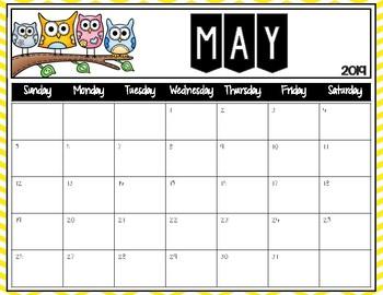 Owl Editable Calendars 2017-2018