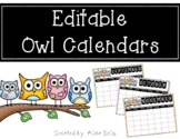 Owl Editable Calendars 2020-2021