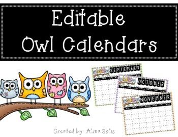 Owl Editable Calendars 2016-2017