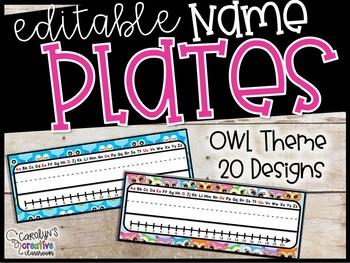 Owl Editable Name Plates - Owl Name Plates
