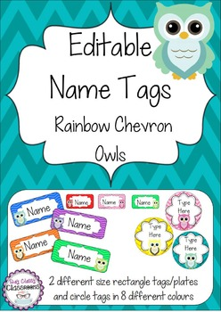 Owl Editable Name Tags / Desk Plates - Rainbow Chevron