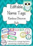 Owl Editable Name Tags / Desk Plates - Rainbow Chevron