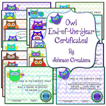 Owl End-of-the-Year Certificates