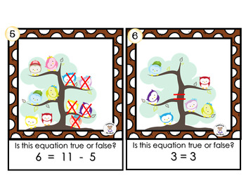 Addition Subtraction & True False Equations - Owl Equations