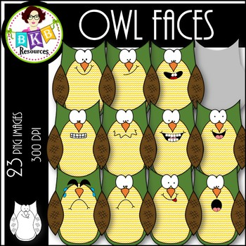 Owl Faces ● Clip Art ● Products for TpT Sellers