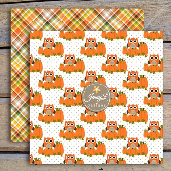 Owl Fall Autumn digital paper