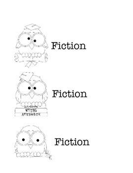 Owl Fiction and Nonfiction Book Basket Labels