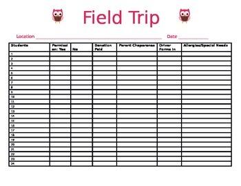 Owl Field Trip Record Form